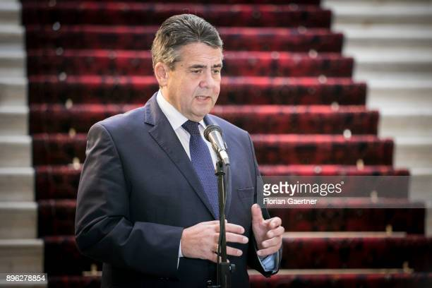 German Foreign Minister Sigmar Gabriel is pictured during a press statement with Aschraf Ghani President of Afghanistan on December 20 2017 in Kabul...