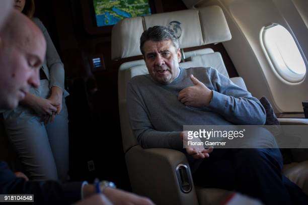 German Foreign Minister Sigmar Gabriel is pictured during a background talk with journalists during the flight to Serbia on February 14 2018 in...