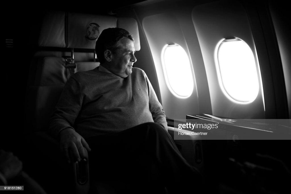 German Foreign Minister Sigmar Gabriel is pictured during a background talk with journalists during the flight to Serbia on February 14, 2018 in Belgrade, Serbia. Gabriel travels Serbia and Kosovo for political conversations.