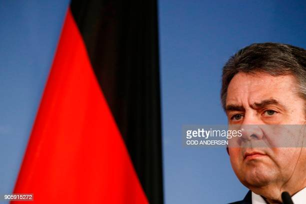 German Foreign Minister Sigmar Gabriel looks on during a joint press conference with his Polish counterpart Jacek Czaputowicz after a meeting in...