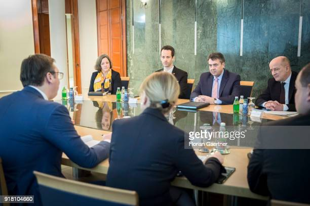 German Foreign Minister Sigmar Gabriel meets Aleksandar Vucic President of Serbia on February 14 2018 in Belgrade Serbia Gabriel travels Serbia and...