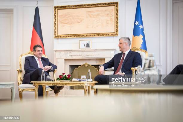 German Foreign Minister Sigmar Gabriel meets Hashim Thaci President of Kosovo on February 15 2018 in Pristina Kosovo Gabriel travels Serbia and...