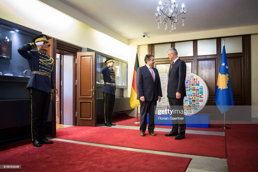 German Foreign Minister Sigmar Gabriel (L) meets Hashim Thaci (R), President of Kosovo, on February 15, 2018 in Pristina, Kosovo. Gabriel travels Serbia and Kosovo for political conversations.