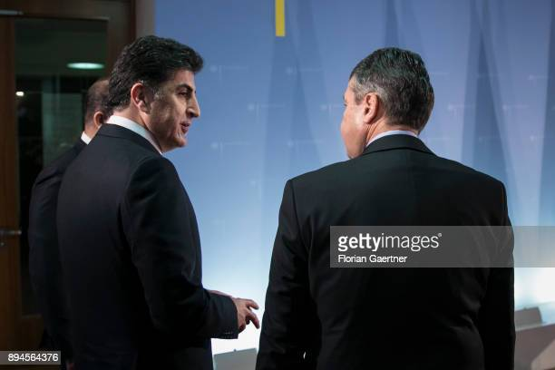 German Foreign Minister Sigmar Gabriel meets the Prime Minister of the Kurdistan Regional Government of Iraqi Kurdistan Nechirvan Barzani on December...