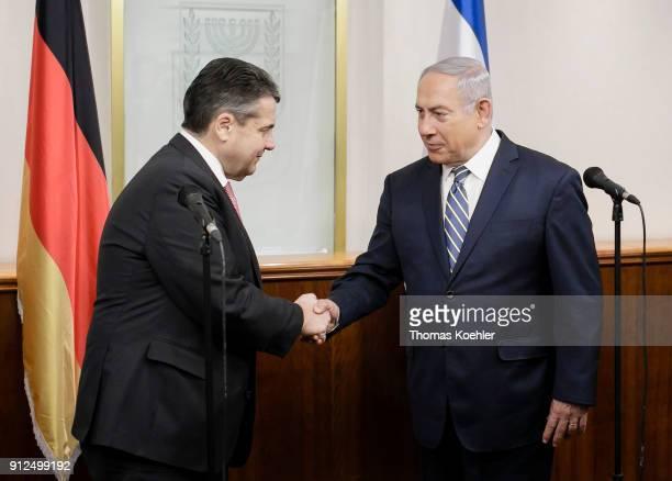 German Foreign Minister Sigmar Gabriel meets with Israeli Prime Minister Benjamin Netanyahu on January 31, 2018 in Jerusalem, Israel.