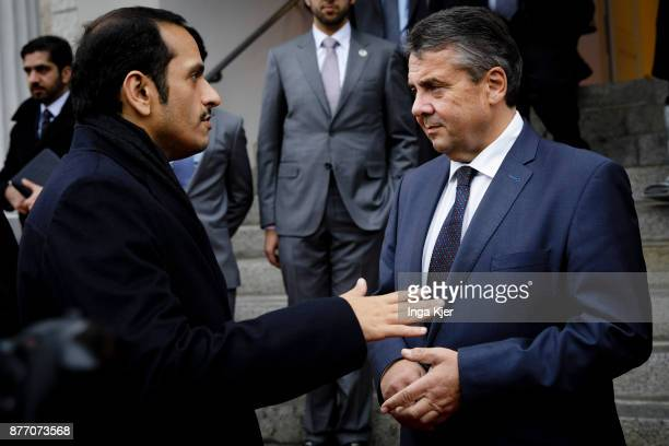 German Foreign Minister Sigmar Gabriel meets with Sheikh Mohammed bin Abdulrahman bin Jassim AlThani Minister for Foreign Affairs of the State of...