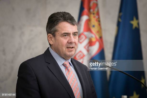 German Foreign Minister Sigmar Gabriel speak to the media after his meeting with Aleksandar Vucic President of Serbia on February 14 2018 in Belgrade...