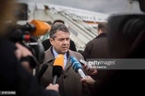 German Foreign Minister Sigmar Gabriel speaks to the media at the airport on February 14 2018 in Belgrade Serbia Gabriel travels Serbia and Kosovo...