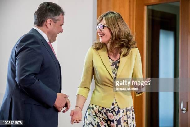 German Foreign Minister Sigmar Gabriel talks with his Bulgarian counterpart Ekaterina GechevaZaharieva in Berlin Germany 30 May 2017 Minister Gabriel...