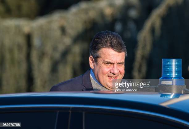 German Foreign Minister Sigmar Gabriel unboarding an official vehicle in Berlin Germany 14 February 2018 Gabriel is traveling to Serbia Kosovo and...