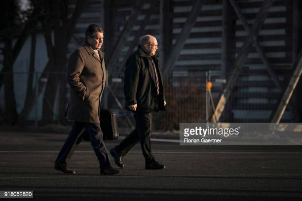 German Foreign Minister Sigmar Gabriel walks to the government plane before he travels to Belgrade on February 14 2018 in Berlin Germany Gabriel...