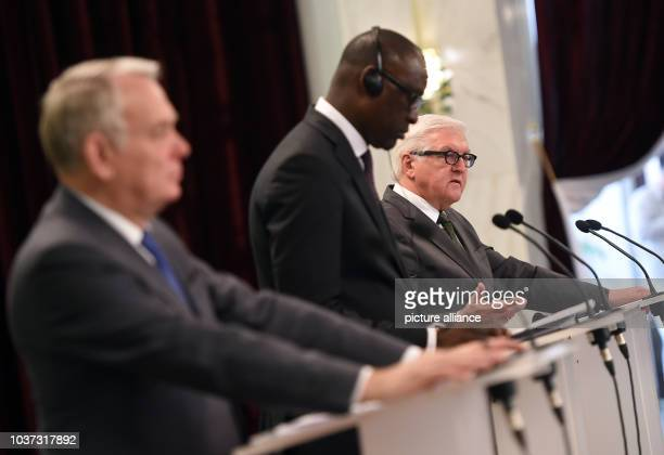 German foreign ministerFrankWalter Steinmeier Malian foreign minister Abdoulaye Diop and French foreign minister JeanMarc Ayrault deliver remarks...