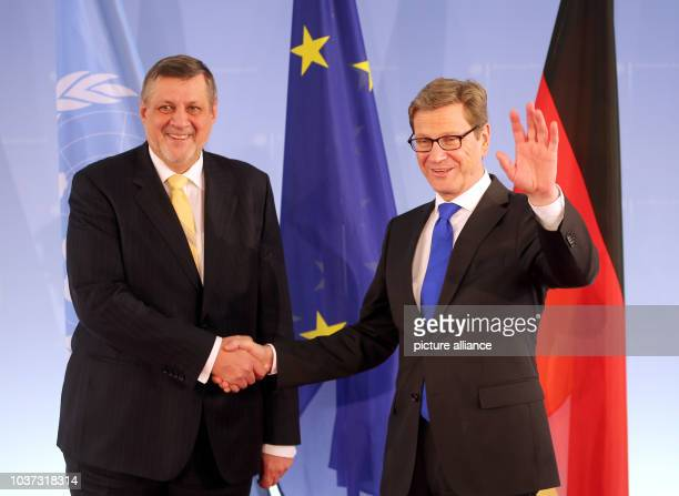 German Foreign Minister Guido Westerwelle welcoms UN Special Envoy Jan Kubis to talks at the Foreign Office in Berlin Germany 14 March 2013 Photo...