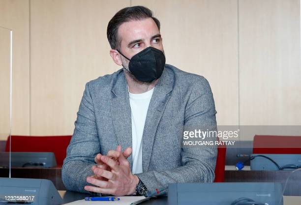 German former soccer player Christoph Metzelder looks on before the beginning of his trial at a regional court in Duesseldorf, western Germany, April...