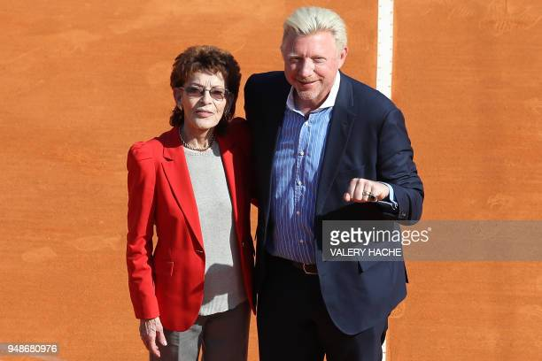 German former tennis player and Boris Becker poses with ElisabethAnne de Massy wearing hall of fame ring during the MonteCarlo ATP Masters Series...