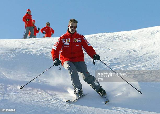 German Formula 1 driver Michael Schumacher skis in the winter resort of Madonna di Campiglio in the Dolomites area Northern Italy 11 January 2005...