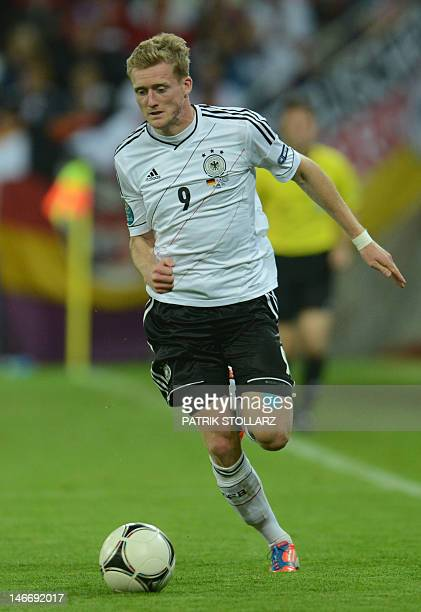 German forward André Schuerrle controls the ball during the Euro 2012 football championships quarterfinal match Germany vs Greece on June 22 2012 at...