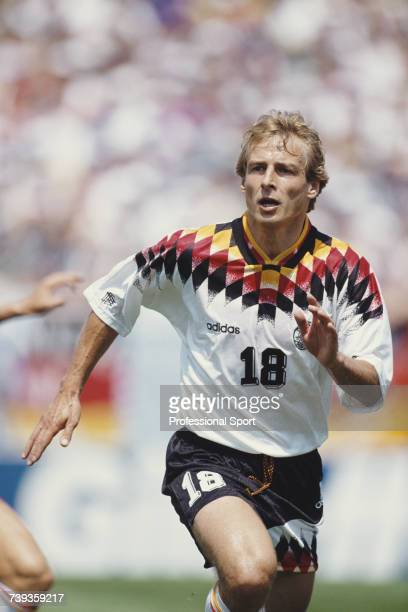 German forward Jurgen Klinsmann pictured in action in the 1994 FIFA World Cup Group C match between Germany and Bolivia at Soldier Field in Chicago,...