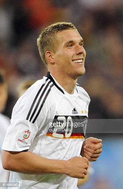 German forward Lukas Podolski celebrates after scoring a second goal during their Euro 2008 Championships Group B football match Germany vs. Poland...