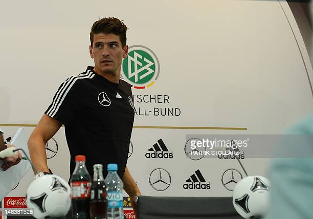 German forward Mario Gomez attends a press conference at media center near the Dwor Oliwski hotel in Gdansk on June 15 during the Euro 2012 football...