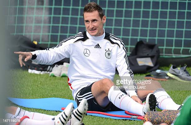 German forward Miroslav Klose attends a training session near the Dwor Oliwski hotel in Gdansk on June 25 during the Euro 2012 football championships...
