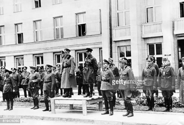 German generals Mauritz von Wiktorin and Heinz Guderian stand next to Soviet commander Semyon Krivoshein during the GermanSoviet military parade on...