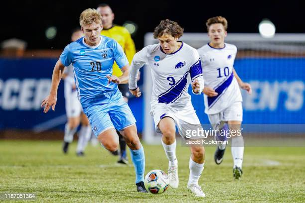 German Giammattei of Amherst Mammoths with the ball during the Division III Men's Soccer Championship held at UNCG Soccer Stadium on December 7, 2019...