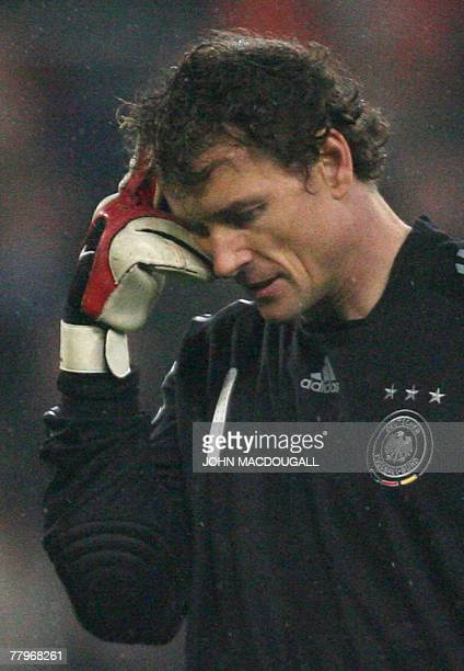 German goalkeeper Jens Lehmann scratches his head with his middle finger during the Germany vs Cyprus Group D qualifying round Euro 2008 football...
