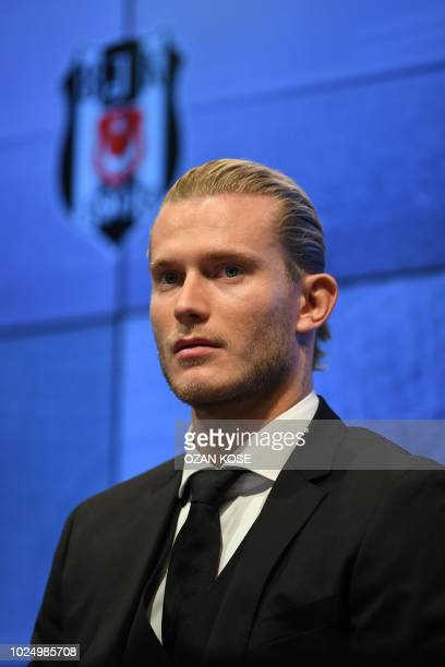 German goalkeeper Loris Karius gestures as he delivers speech during a press conference for his presentation at the Vodafone Park Stadium, on August...