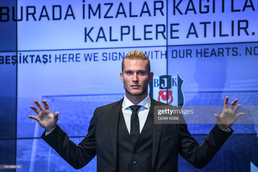 German goalkeeper Loris Karius poses after a press conference for his presentation at the Vodafone Park Stadium, on August 29, 2018, in Istanbul. - Liverpool goalkeeper Loris Karius has joined Turkish football team Besiktas for a two-year loan deal.