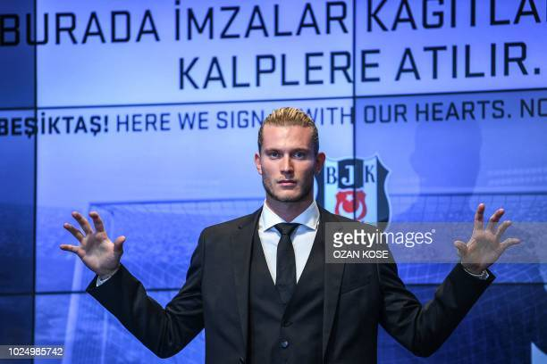 German goalkeeper Loris Karius poses after a press conference for his presentation at the Vodafone Park Stadium, on August 29 in Istanbul. -...