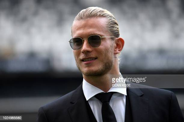 German goalkeeper Loris Karius poses on the football picth of the Vodafone Park Stadium on August 29 2018 after his presentation in Istanbul...