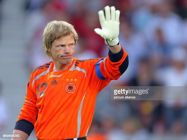 German goalkeeper Oliver Kahn waves during the 3rd place match of the 2006 FIFA World Cup between Germany and Portugal in Stuttgart Germany Saturday...