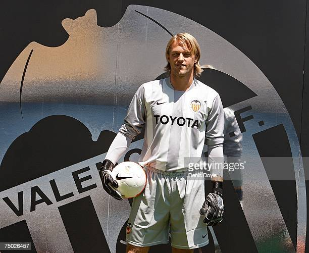German goalkeeper Timo Hildebrand smiles during his presentation as a new signing for FC Valencia at the Mestalla stadium on July 4 2007 in Valencia...