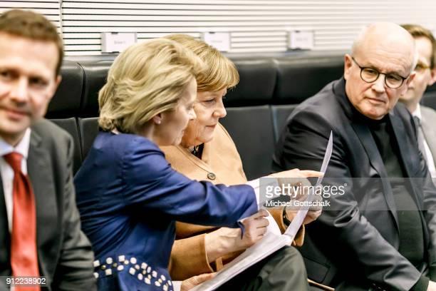 German Government spokesperson Steffen Seibert German Defense Minister Ursula von der Leyen German Chancellor Angela Merkel and CDU/CSU faction...