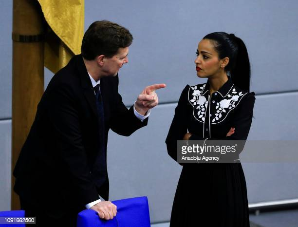 German government's spokesman Steffen Seibert and Sawsan Chebli attend a memorial service held at German parliament for Nazi victims on the 74th...