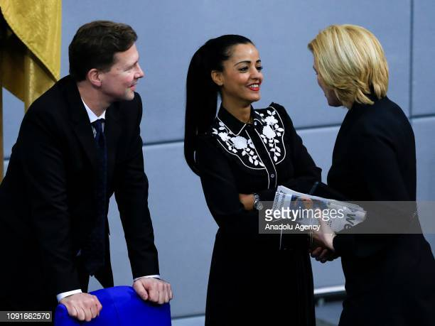 German government's spokesman Steffen Seibert Sawsan Chebli and Federal Minister for Food Agriculture and Consumer Protection Julia Klockner attend a...