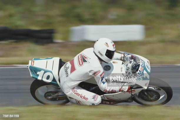 German Grand Prix motorcycle road racer Martin Wimmer rides the 250cc Hein Gericke Aprilia to finish in 7th place in the 1990 Swedish 250cc...