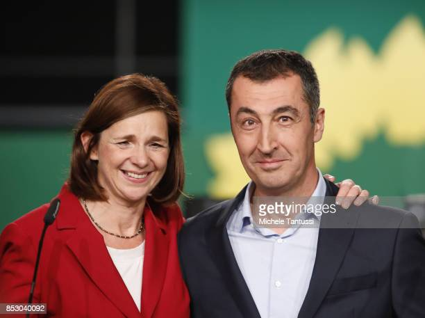 German Green Party Buendnis 90 / Die Gruenen candidate duo for federal elections Katrin GoeringEckardt and Cem Oezdemir address the media during the...
