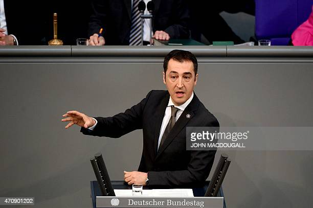German green party Buendniss 90 Die Gruene coleader Cem Oezdemir addesses deputies as they commemorate the centenary of the massacre of 15 million...