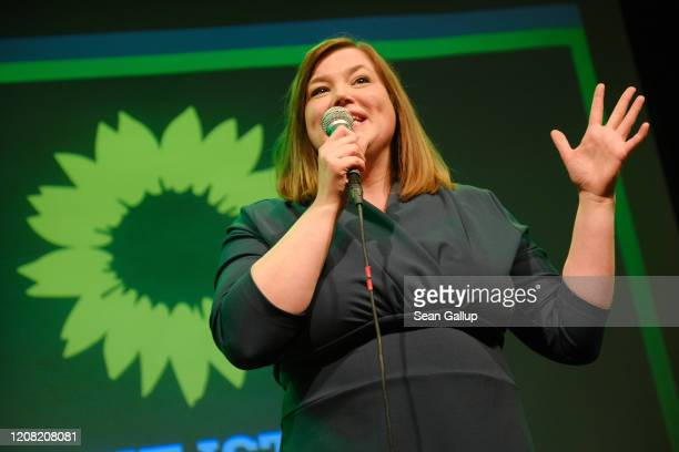German Greens lead candidate Katharina Fegebank speaks to supporters after initial exit polls gave the Greens 25.5% of the vote in Hamburg city...