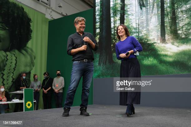 German Greens Party chancellor candidate Annalena Baerbock and co- party leader Robert Habeck conclude a Greens Party congress ahead of federal...