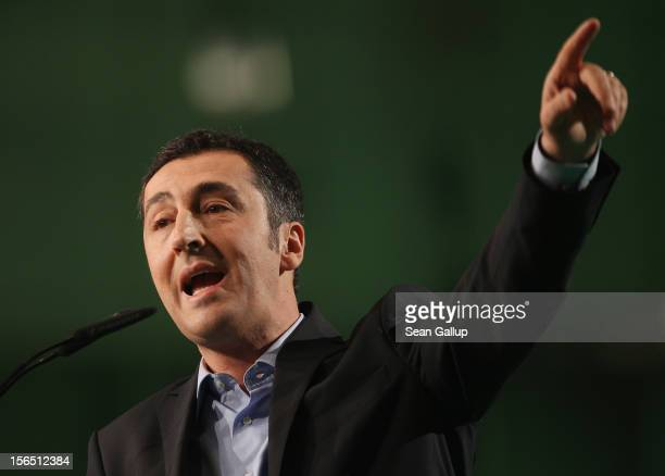 German Greens Party cochairman Cem Oezdemir speaks to delegates at the Greens Party federal convention on November 16 2012 in Hanover Germany Germany...