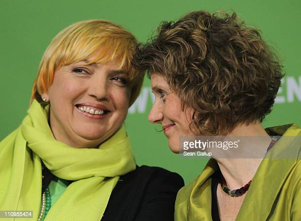 German Greens Party cochairwoman Claudia Roth and Greens Party candidate in the state of RhinelandPalatinate Eveline Lemke arrive to speak to the...
