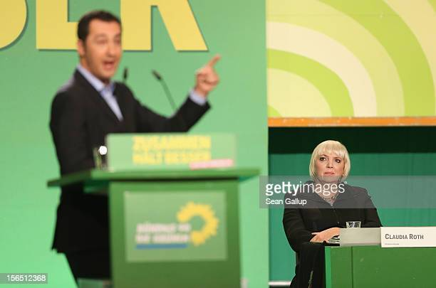 German Greens Party cochairwoman Claudia Roth looks on as cochairman Cem Oezdemir speaks to delegates at the Greens Party federal convention on...