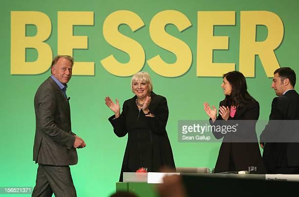 German Greens Party cochancellor candidate Juergen Trittin cochairwoman Claudia Roth cochancellor candidate Katrin GoeringEckardt and cochairman Cem...