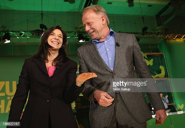 German Greens Party cochancellor candidates Katrin GoeringEckardt and Juergen Trittin arrive to speak at the Greens party federal convention on...