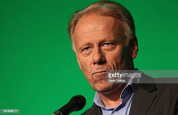 German Greens Party colead candidate Juergen Trittin speaks to the media on the first day after German federal elections on September 23 2013 in...