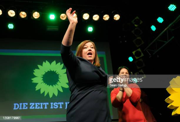 German Greens party co-leader Annalena Baerbock and local candidate Katharina Fegebank, celebrate after initial exit polls gave the Greens 25.5% of...