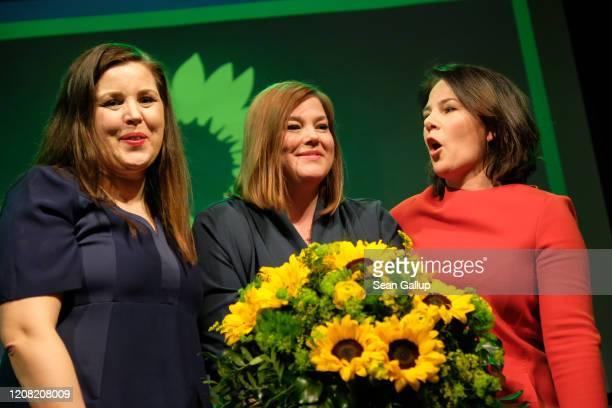 German Greens party co-leader Annalena Baerbock , local candidate Katharina Fegebank and Greens Hamburg head Anna Gallina celebrate after initial...